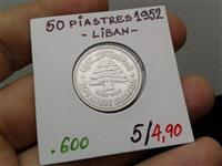 LIBAN 50 PIASTER 1952 SILVER 4.9 GRAMS