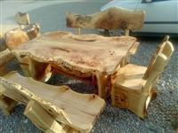 Shes Tavolina me Karrike e gjitha punim druri