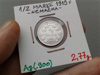 GERMANY 1/2 MARK 1915 SILVER