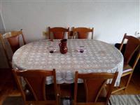 Tavolin kuzhine me 6 karrike