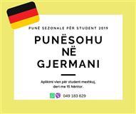 Pune Sezonale per Studenta ne Gjermani 2019