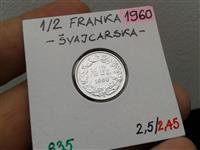 SWITZERLAND 1.2 FR 1960 SILVER