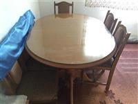 tavoline me 6 karrika dhe xham